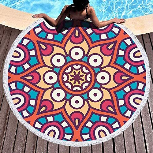 Tiffany Church Mandala Indio Bohemio, Tiro de Playa, Gran Elefante Redondo, Toalla de Playa, Manta de Picnic, decoración de Piscina, Esterilla de Yoga 150X150Cm