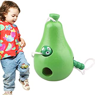 Toys&Hobbies Wooden Toys Threading Caterpillars Eat Pear Novelty Funny Educational Wood Toys (Color : Color1)