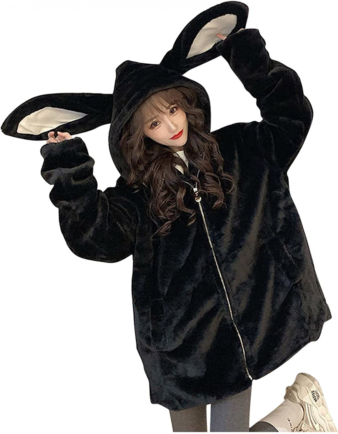 Ladies Cute Rabbit Ear Plush Thickened Hooded Coat Long Sleeve Zip Up Fluffy Sweater Jacket Solid Color Pullover Top Clothing
