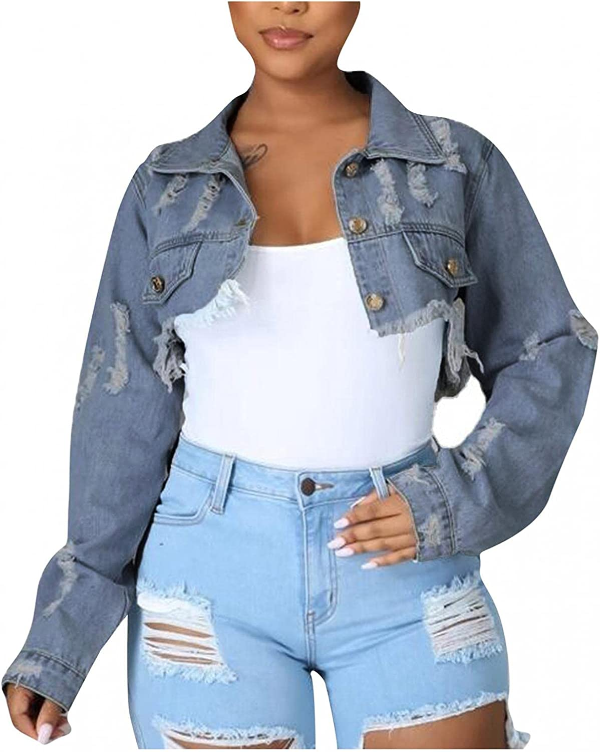 Kcocoo Denim Jacket for Women Long Sleeve Classic Loose Jean Trucker Jacket Ripped Distressed Casual Button Down Croped Coat