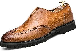 Sygjal Men's business Oxford casual British fashion classic comfortable prints Brogue Shoes (Color : Yellow, Size : 38 EU)