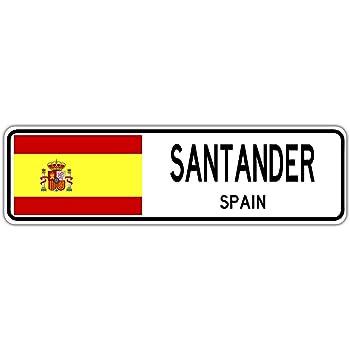 YelenaSign Santander - Señal de Calle de España, Bandera de España, Ciudad, Campo, Regalo de Pared, 4 x 16 Pulgadas: Amazon.es: Hogar