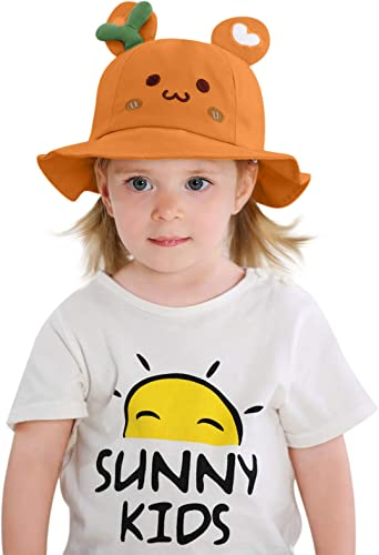 Kids Summer Sun Protection Hat Cute Smile Printed Toddler Baby Boys Girls Bucket hat Outdoor Beach Hat with Wide Brim Summer Play Hat Orange