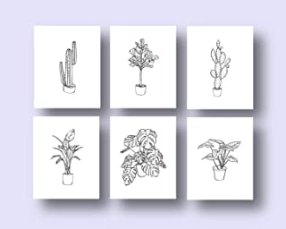 Ink Inc. Potted Plants Botanical Prints Line Drawings Wall Art Minimal Black and White Home Decor - Set of 6-8x10 - Matte - Unframed