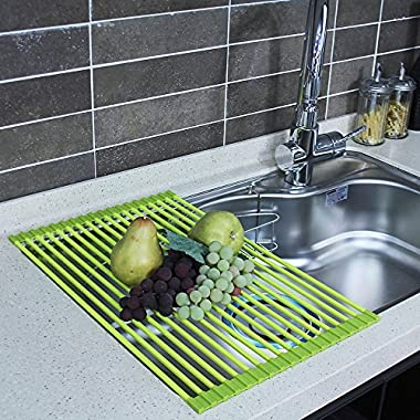 HOME&CO Large 20.5 x13  Over the Sink Dish Drying Rack Silicone Roll-Up Compact Mat Dish Drainer SGS-Certified (Green)