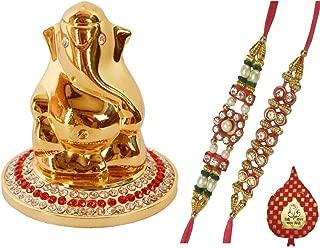 Purpldip Bhai Dooj Rakhi Gift Set: Golden Ganesha Statue with Glittering Gems, 2 Designer Rakhi, Roli Chawal in Red Paan Packing (rakhi66)