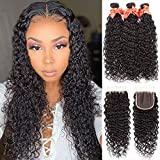 Brazilian Water Wave Bundles with Closure( 20 22 24+18)Ocean Wave Bundles with 4x4 Lace Closure Free Part Wet and Wavy Human Hair Weave Bundles with Closure Natural Black