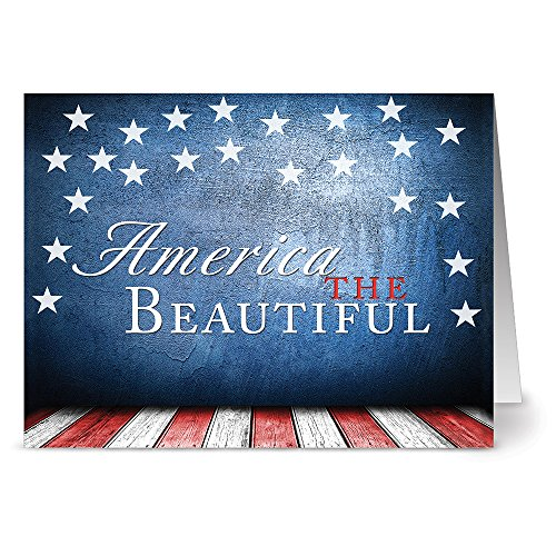 Patriotic Greeting Cards 36 Pack – America the Beautiful – Unique Design – RED ENVELOPES INCLUDED – Blank Greeting Card – Glossy Cover Blank Inside – By Note Card Café…