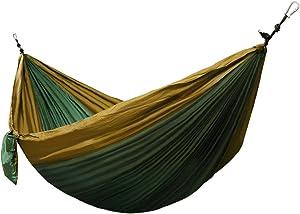 Corona Burg Ultra Ligero Hamaca Caso Pantalla Nailon de paracaídas Seda 275x 140cm, Carga máxima 300kg con Certificado TÜV. con 2mosquetón y 2Cuerdas de Olivo Verde