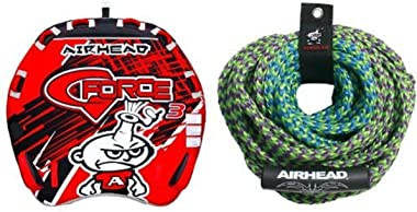 AIRHEAD AHGF-3 G-Force Inflatable Towable and AIRHEAD AHTR-42 4 Rider Tube Rope Bundle
