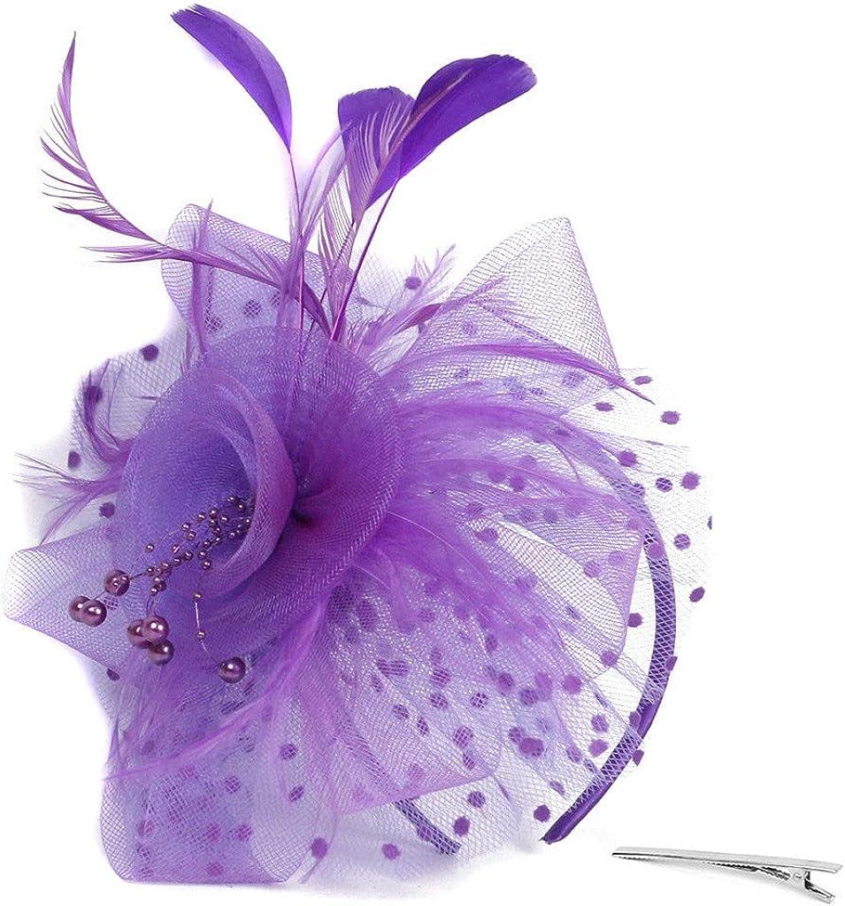 Women Girls Fascinators Hat Flower Mesh Ribbons Feathers Flapper Great Gatsby Headband Clip Tea Party Headpiece