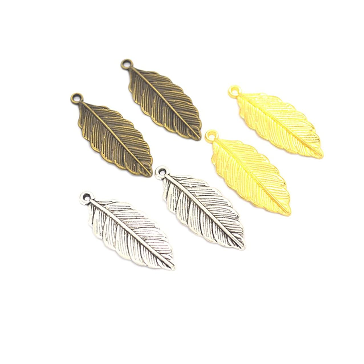 90pcs Mixed Antique Silver Alloy Leaf Charms Pendents Jewelry Findings for Making Bracelet and Necklace (90pcs)