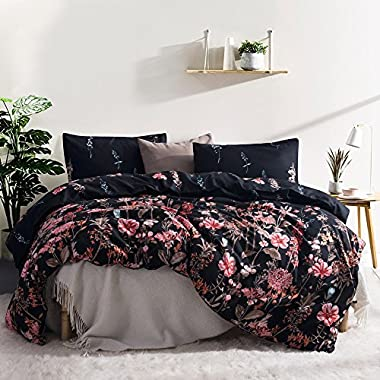Leadtimes Flower Duvet Cover Set, Floral Black Boho Hotel Bedding Sets with Soft Lightweight Microfiber 1 duvet cover and 2 Pillow Shams by (King, Style8)
