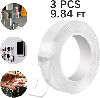3 Rolls Removable Gel Grip Tape, Multipurpose Double Sided Sticky Strips Clear, Washable Nano Grip Tape, Seamless Traceless Adhesive Tape for  Paste Photos and Posters, Paste Items Etc