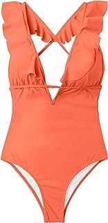 CUPSHE Women's Falbala One Piece Swimsuit Deep V Neck Monokini Swimsuit