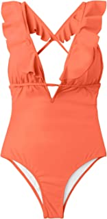 CUPSHE Women's Falbala One Piece Swimsuit Deep V Neck Monokini Swimsuit