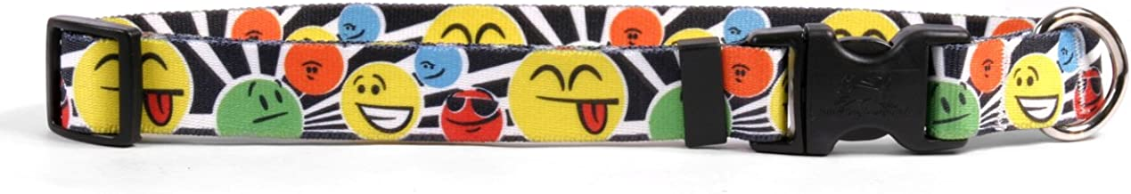 """Yellow Dog Design Smiles Dog Collar with Tag-A-Long ID Tag System-Medium-3/4 and fits Neck 14 to 20""""/4"""""""