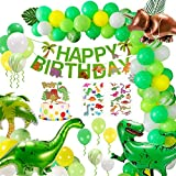 Geburtstag Party Dekoration, Dinosaurier Dschungel Geburtstag Party Dekoration Ballons Set, Ballondekoration, Happy Birthday Banner Dekoration für Kinder