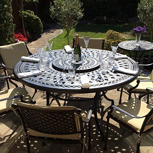 Lazy Susan - Frances 150 cm Runder Gartentisch mit 6 Stühlen - Gartenmöbel Set aus Metall, Antik Bronze (Kate Stühle)