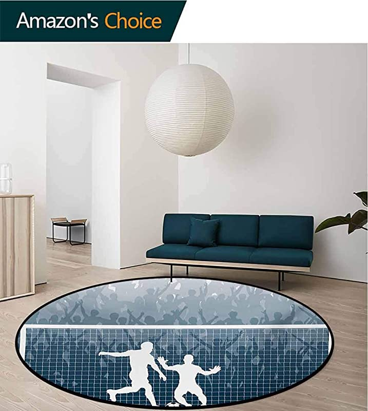 RUGSMAT Soccer Machine Washable Round Bath Mat Illustration Of A Cheering Crowd Silhouette Watching Penalty Kick In Soccer Match Non Slip No Shedding Bedroom Soft Floor Mat Diameter 24 Inch