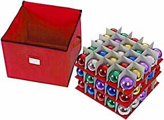 ProPik Large Holiday Ornament Storage Box Organizer Chest, 3 Trays Holds up to 75 Ornaments Balls with Dividers to Organize, Durable 600D Oxford Material (Red)