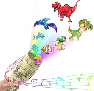 weird tails Lights Projector Toy Kids LED Projector Flashlight with Music Dinosaur Starry Ocean Light Show and Educational Toy for Kids Best Birthday Gifts for Boys Girls Baby (Gray Yellow)