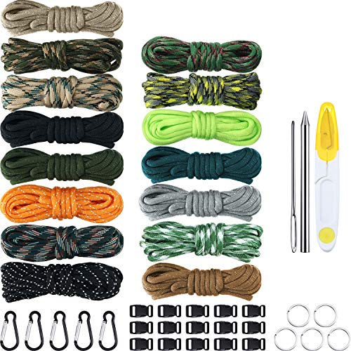 Paracord Combo Handwerk Kit 150 Fuß 15 Farben Fallschirm Schnur mit Schnallen Schlüsselbund Schlüsselringe und Paracord Schnürnadel Nähnadeln Kit