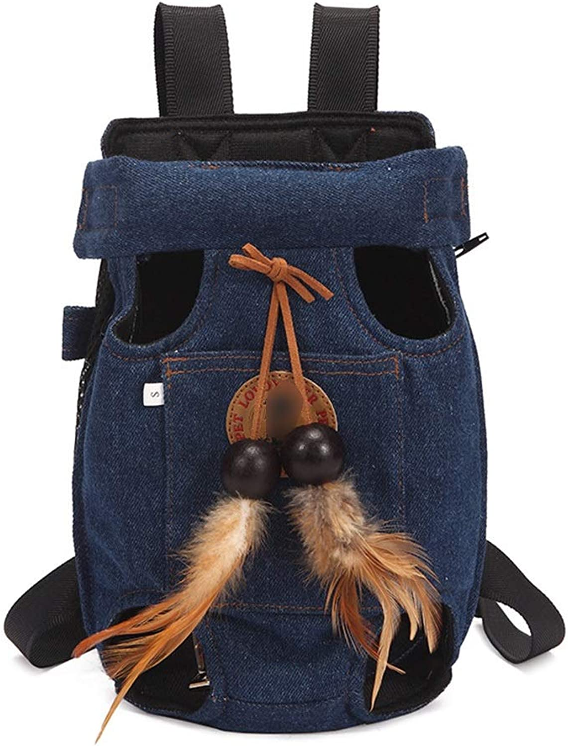 FELICIOO Pet Shoulder Chest Bag Cat Breathable Carrying Bag Out Fourlegged Backpack (color   bluee, Size   M)