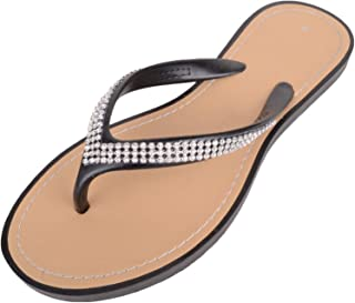 ABSOLUTE FOOTWEAR Womens Slip On Style Diamante Flip Flops/Sandals/Mules