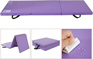 Modern-Depo Gymnastics Mat Tri-Fold 6'X2'X2 Thick with Handle, Waterproof Cover, 100% EPE Core - Pink, Blue, Black, Purple Available