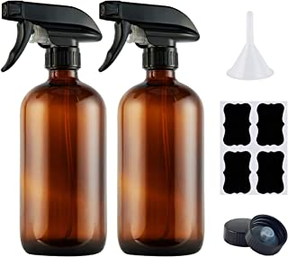 Empty Amber Glass Spray Bottles,Refillable 16 oz Container with Funnel and Labels for Essential Oils, Aromatherapy, Homemade Cleaning Products,Durable Trigger Sprayer w/Mist and Stream Settings-2 Pack