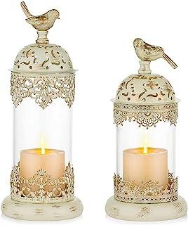 Romadedi Candle Holder Moroccan Decorative Lantern - Luxury Hurricane Holder for Pillar Set of 2 for Home Living Room Fire...