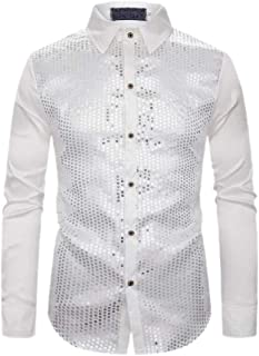 Men Sparkle Sequin Shirt Long Sleeve Button Down Shiny Disco Party Shirts