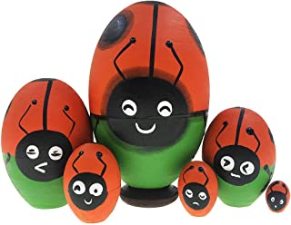 Alrsodl Ladybug Nesting Doll Lady Beetle Insect Russian Doll with Different Expression Red Egg Shape Wooden Matryoshka Handmade Stacking Toy Set 6 Pieces for Kids Girl Mother's Day Home Decoration