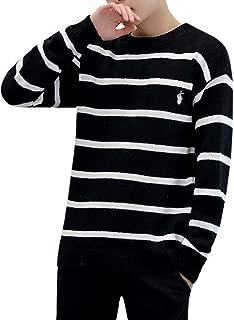 [ルキアード] ワンポイント ボーダー 柄 セーター 厚手 ユッタリ シンプル カジュアル 長袖 丸首 白黒 M ~ XL メンズ