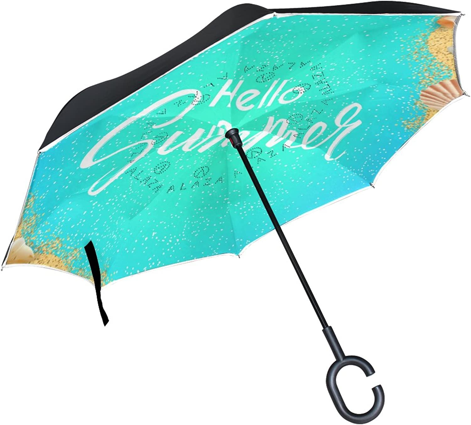 Mydaily Double Layer Ingreened Umbrella Cars Reverse Umbrella Hello Summer Tropical Beach Windproof UV Proof Travel Outdoor Umbrella