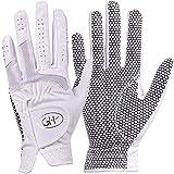 GH Women's Leather Golf Gloves One Pair - Plain Both Hands (White, 20 (M))