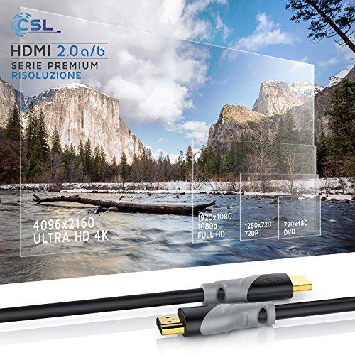 CSL - 2m Cavo HDMI 4k 60Hz HDR - HDMI 2.0 a b - 4K 3D UHD 1080p 3D HFR Ethernet - Full HD 1080p Arc e CEC - schermatura Tripla e schermatura connettore e Contatto