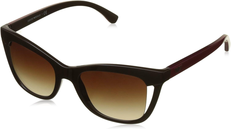 Emporio Armani EA4088 556113 Brown EA4088 Cats Eyes Sunglasses Lens Category 3