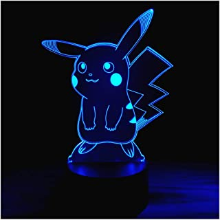 3D Optical Illusion LED Night Light, Boy Girl Kids Baby Sleep Desk Lamp Touch Control 7 Color Change USB Powered for Home Decorations or Holiday Gifts (3D Animal)