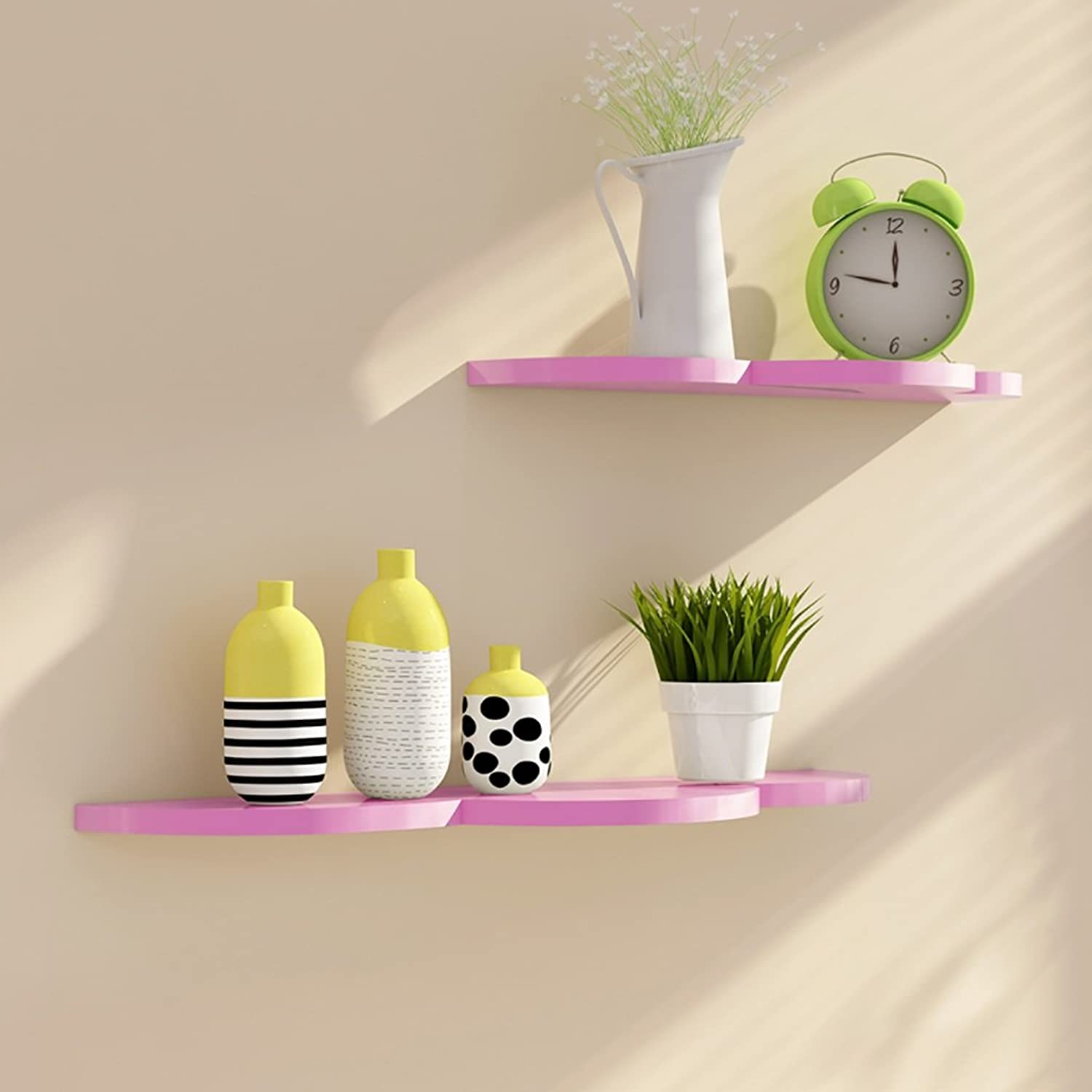 Creative Wall Shelves, Wall Decoration Rack, Wall Storage Shelves, Wall Solid Wood Decorative Frame (color   Pink)
