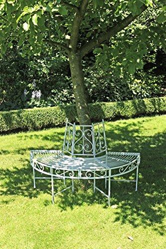 Garden Pleasure Metall Baumbank Varda Gartenbank Sitzbank Parkbank Antik weiß