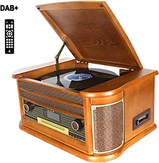Dab Tocadiscos, DLITIME Record Player con Radio FM/USB/RCA/