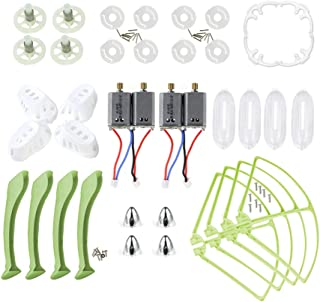 Coolplay White Main Blades & Landing Skids & Propeller Protectors Blades Frames & Main Gears & Main Motors Spare Replacement Parts for Syma X8 X8C X8W RC Quadcopter