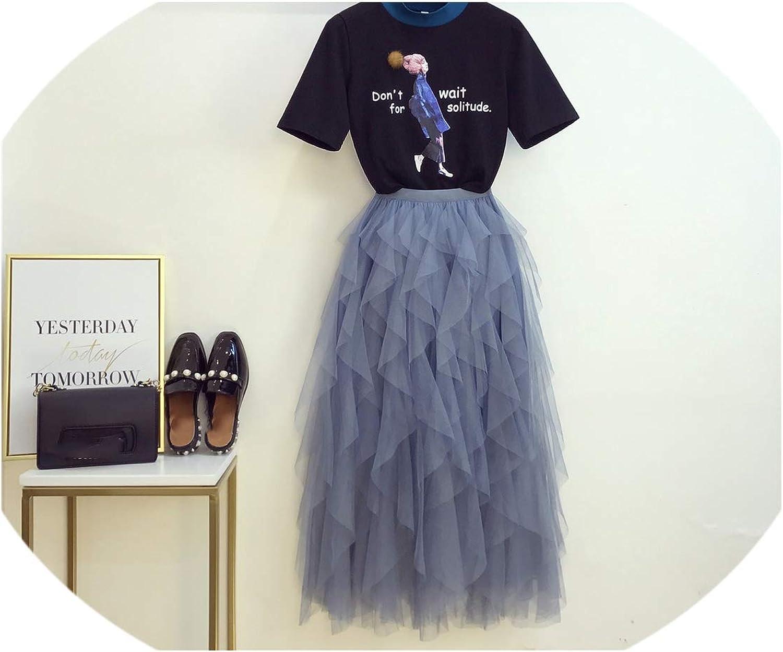Enjoypeak Summer New Port Flavor Personality Print TShirt + Elegant Fairy Screen Skirt Two Piece Girl Lady