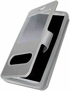 miroir et surpiqures apparentes PH26/® Etui housse folio pour Hisense F23 /à pois dor/és en /éco-cuir argent avec porte cartes