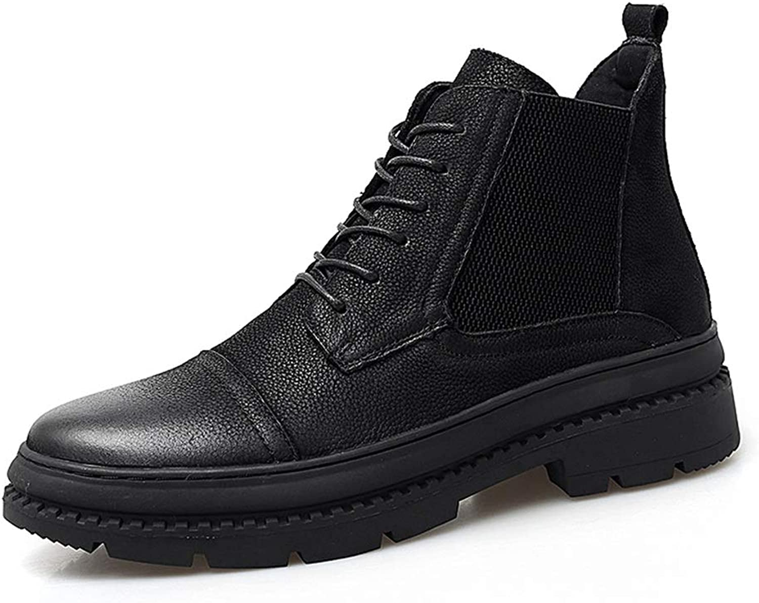 2018 New Mens boots, Men's Casual Fashion Boots Cowhide High-top Outdoor Outsole Boots (color   Black, Size   10 UK)