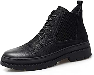 SHENYUAN Boots for Men Casual New Style Cowhide High-top Outdoor Outsole Boots Work or Casual Wear (Color : Black, Size : 46 EU)