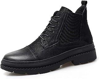 [Shuo lan JP] メンズ ファッションブーツ カジュアル 革靴 牛革 ハイトップ アウトドアブーツ 通気