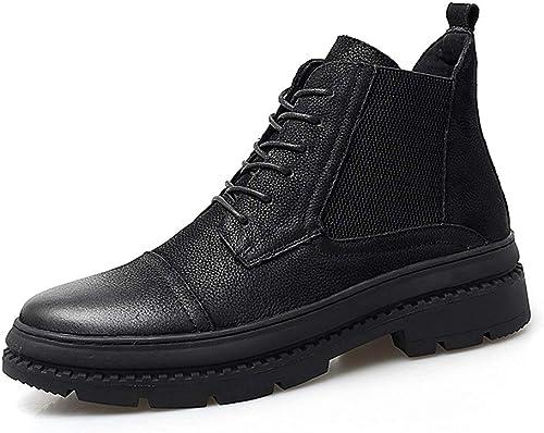 Shuo lan hu wai Bottes Mode pour Hommes Bottes décontractées en Cuir de Vachette décontracté de Style Neuf,Chaussures de Cricket (Couleur   Noir, Taille   38 EU)